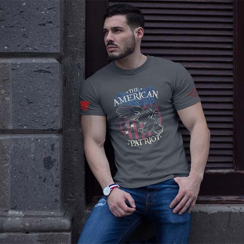t-shirt - American Patriot over eagle and flag - men's Charcoal