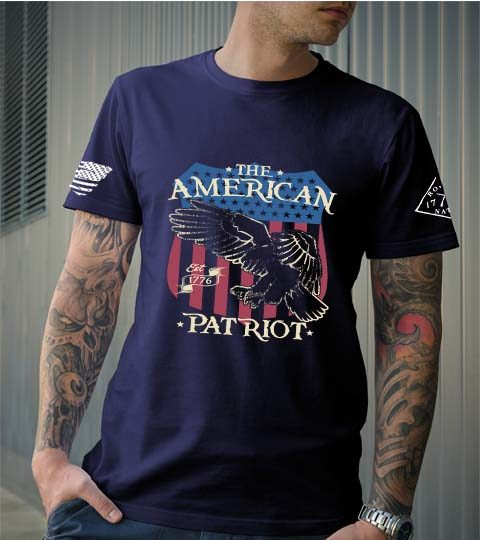 t-shirt american patriot over eagle and flag men's navy