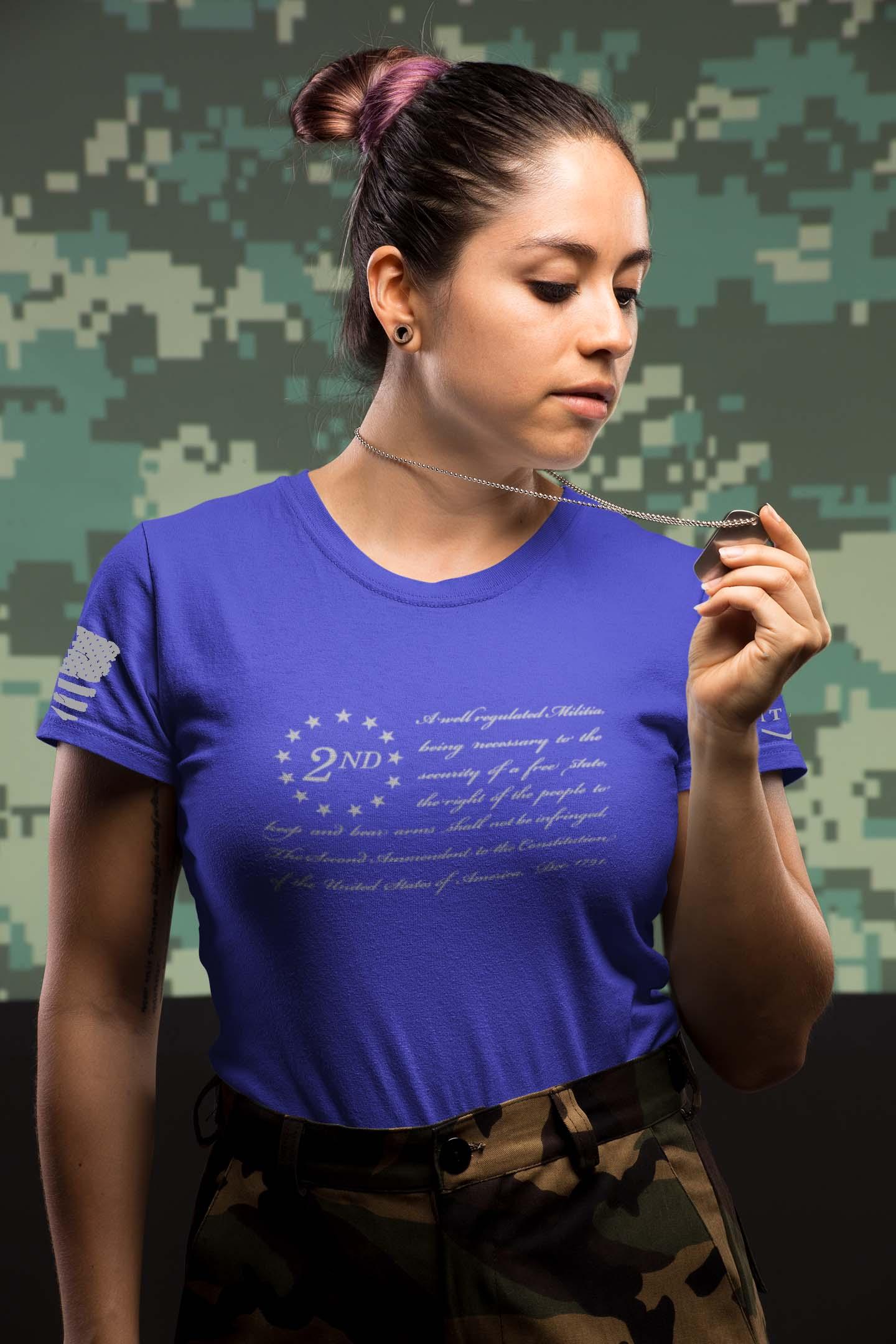 t-shirt - 2nd Amendment on front - Women - Royal