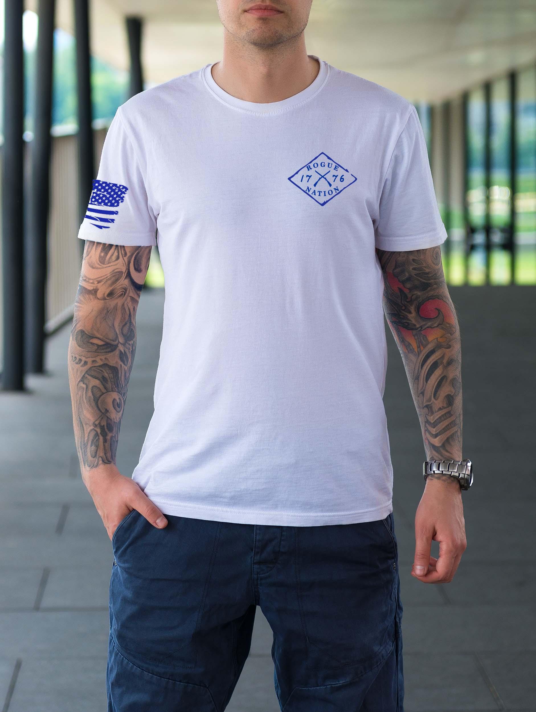 t-shirt full front blue letters on white men's