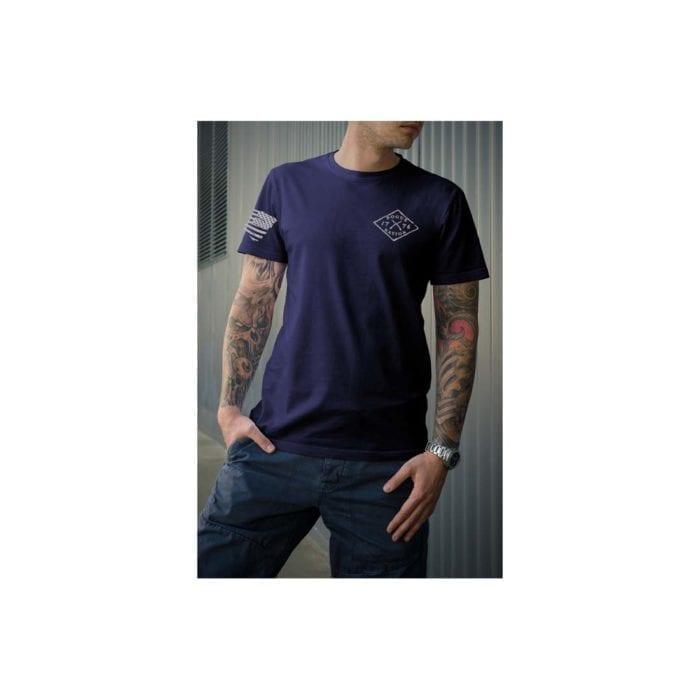 t-shirt full front grey letters on navy men's