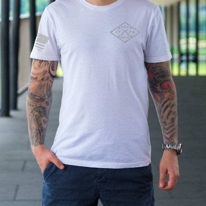 t-shirt full front grey letters on white men's