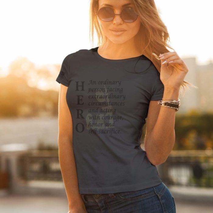 t-shirt hero police Charcoal women's