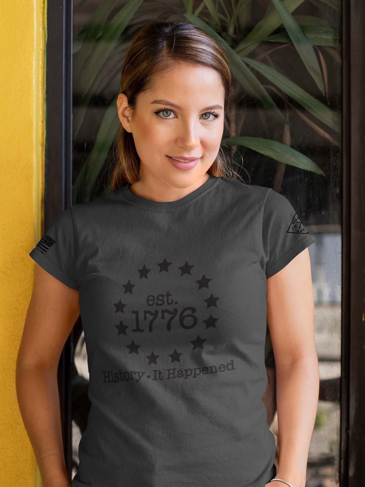 t-shirt history it happened charcoal women's