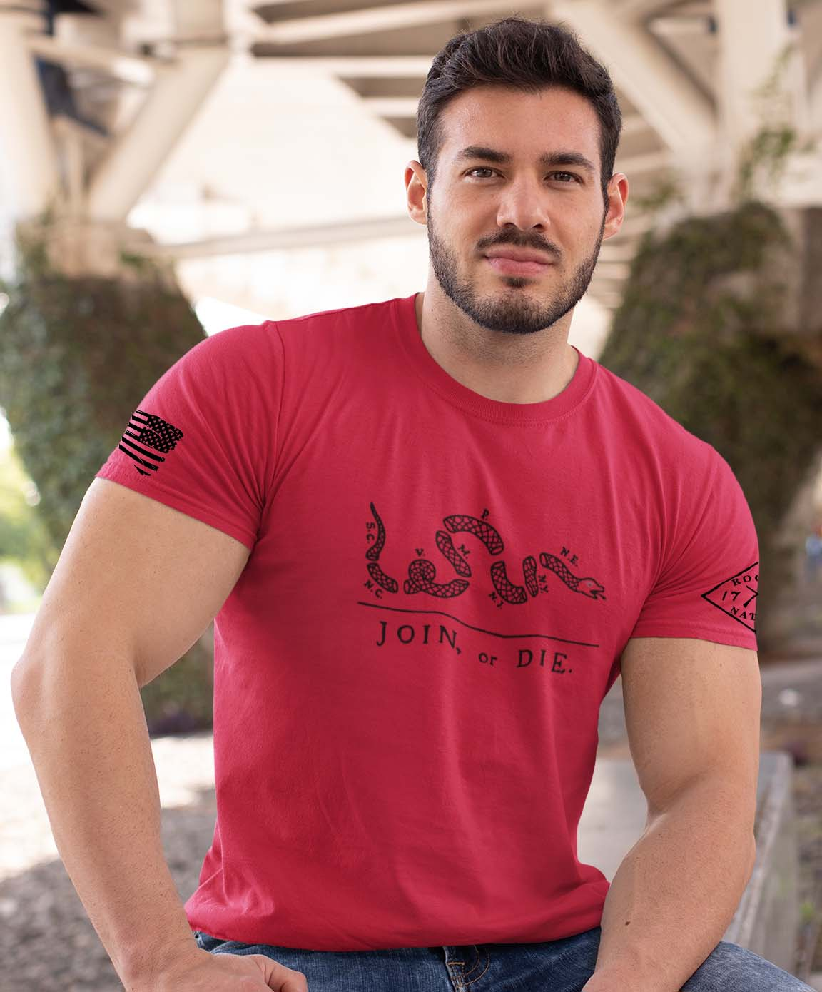 t-shirt join or die red men's