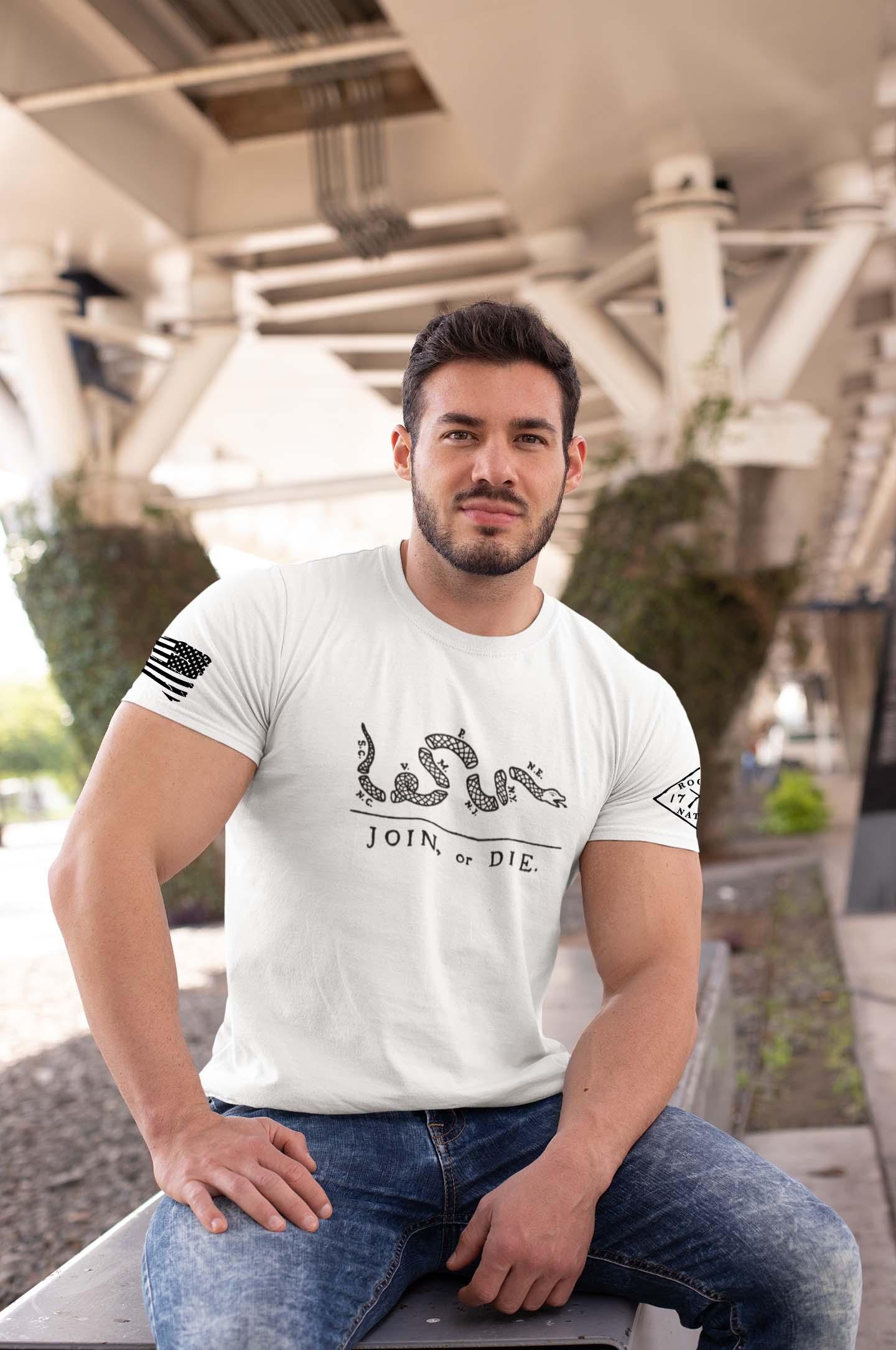 t-shirt join or die white men's