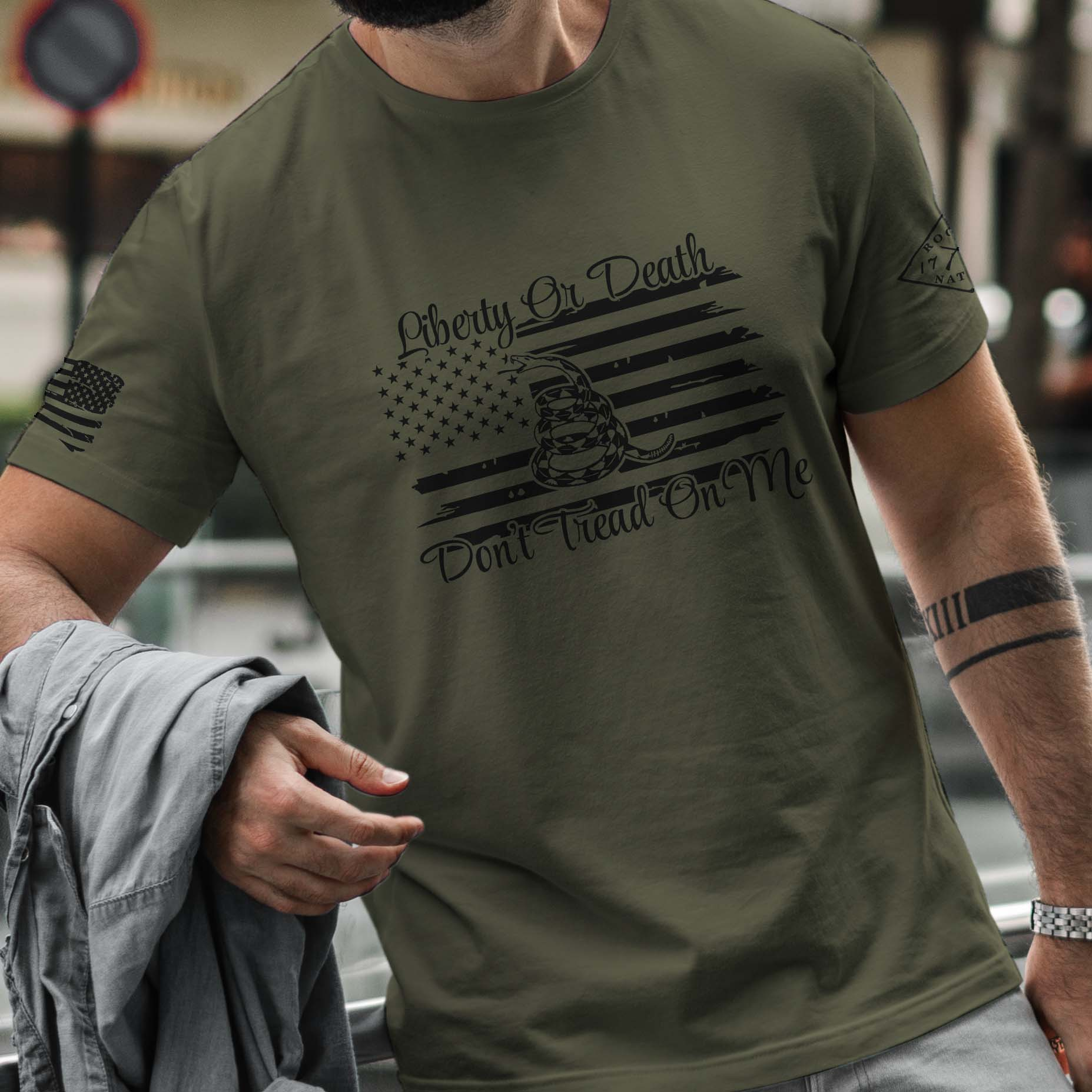 t-shirt with liberty or death on army men's