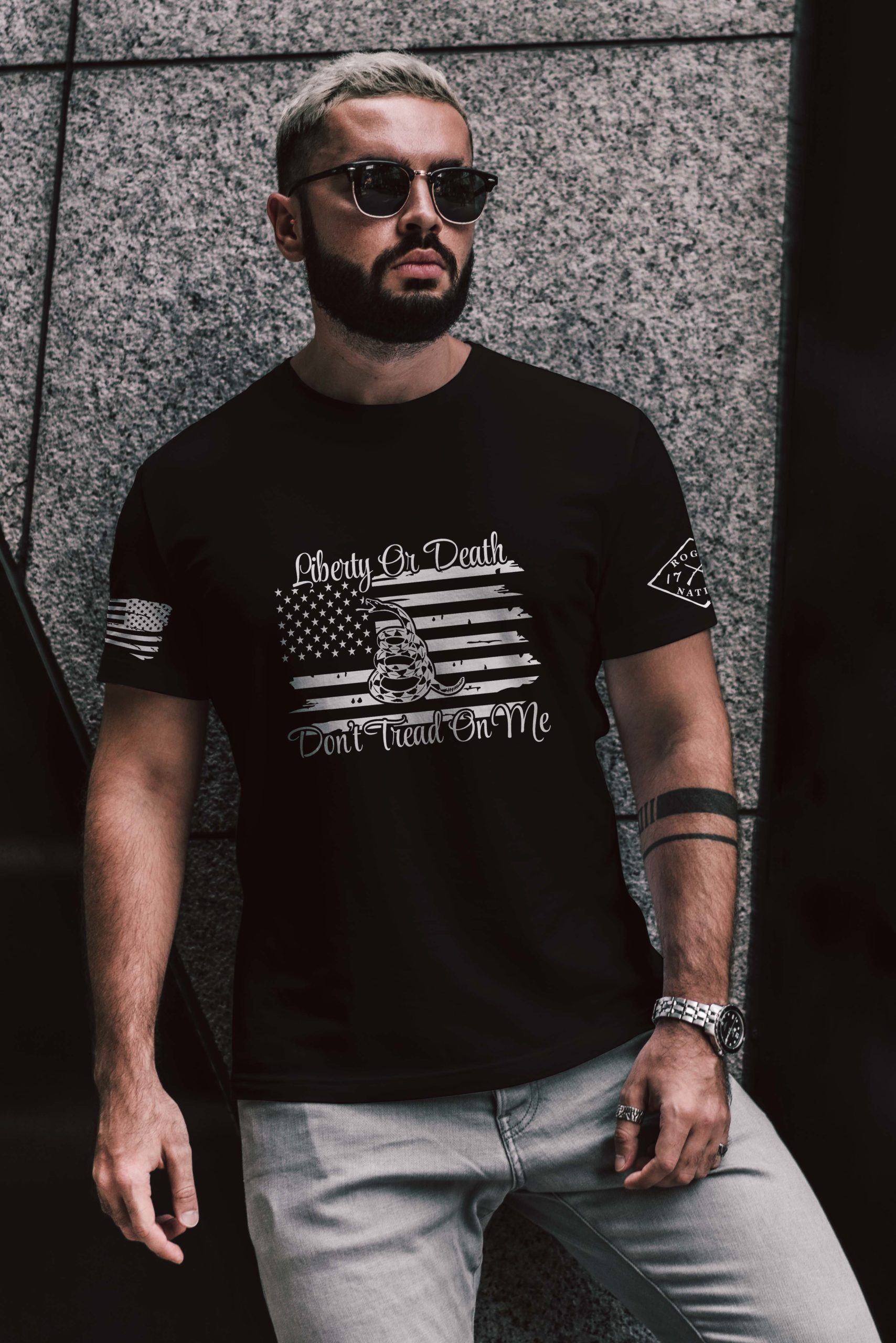 t-shirt with liberty or death on black men's