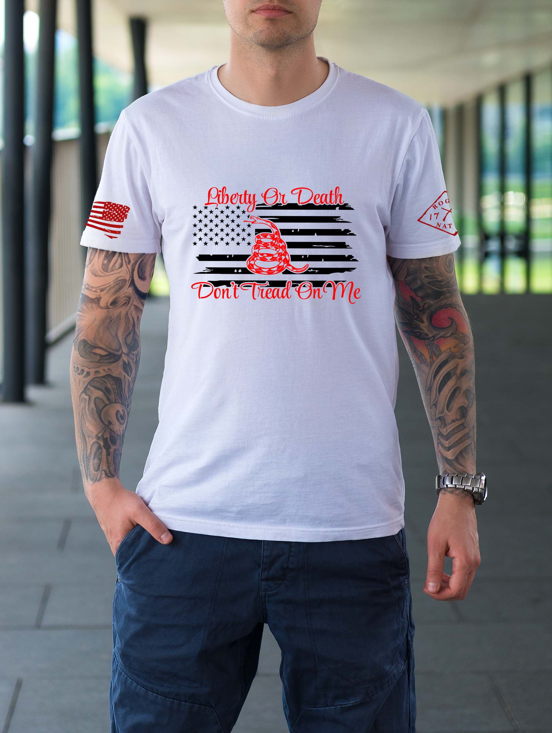 t-shirt with liberty or death on white men's