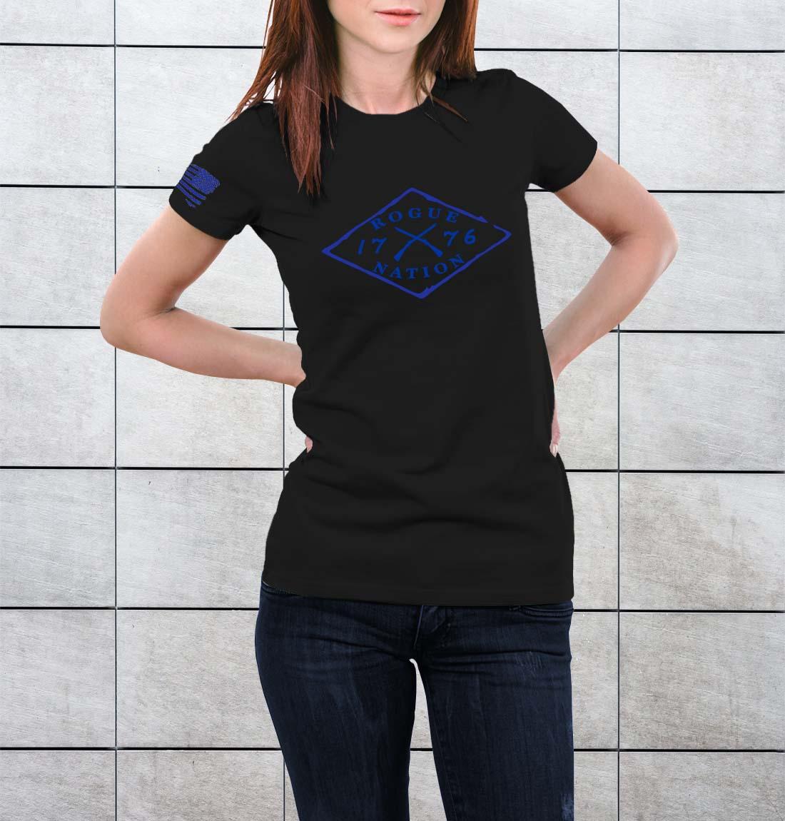 t-shirt full logo on black women's