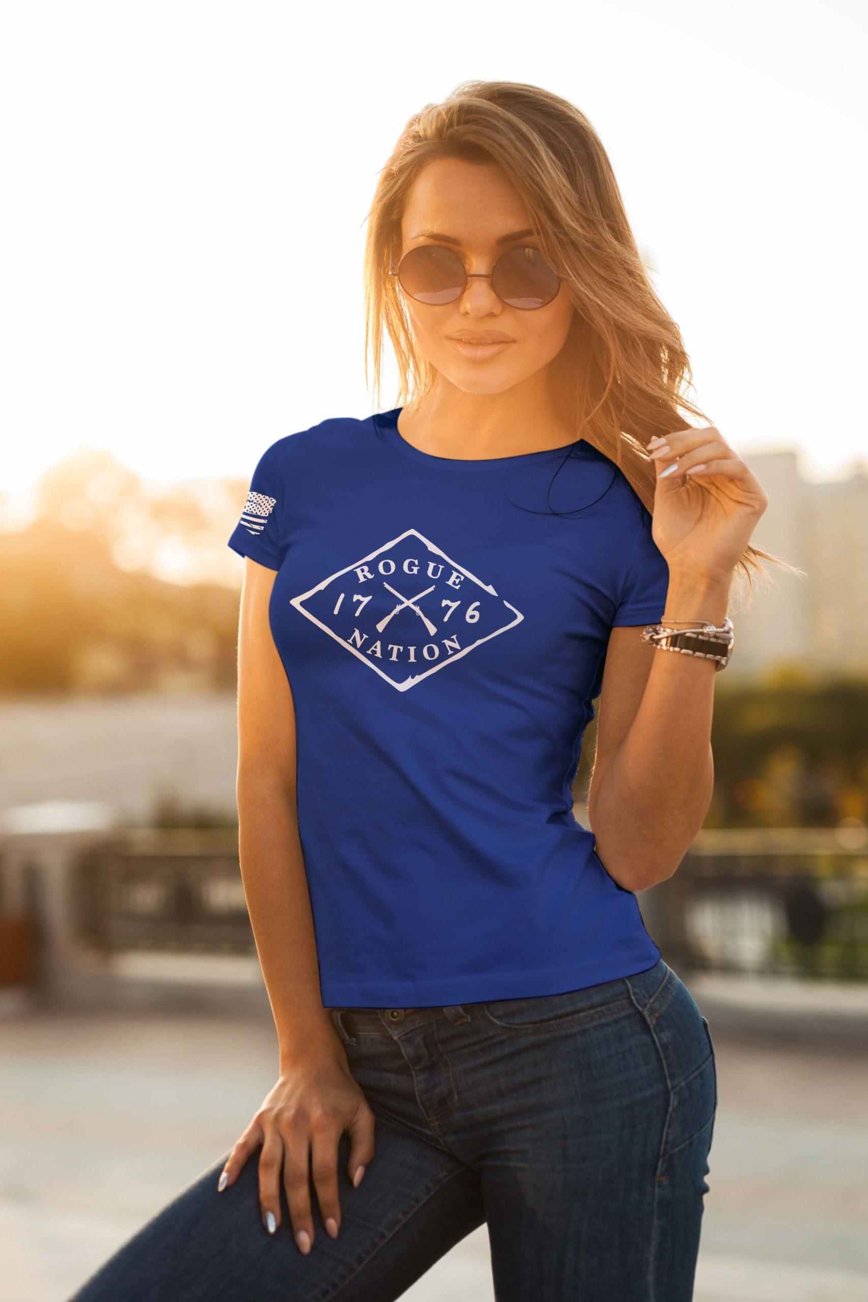 t-shirt full logo on royal women's