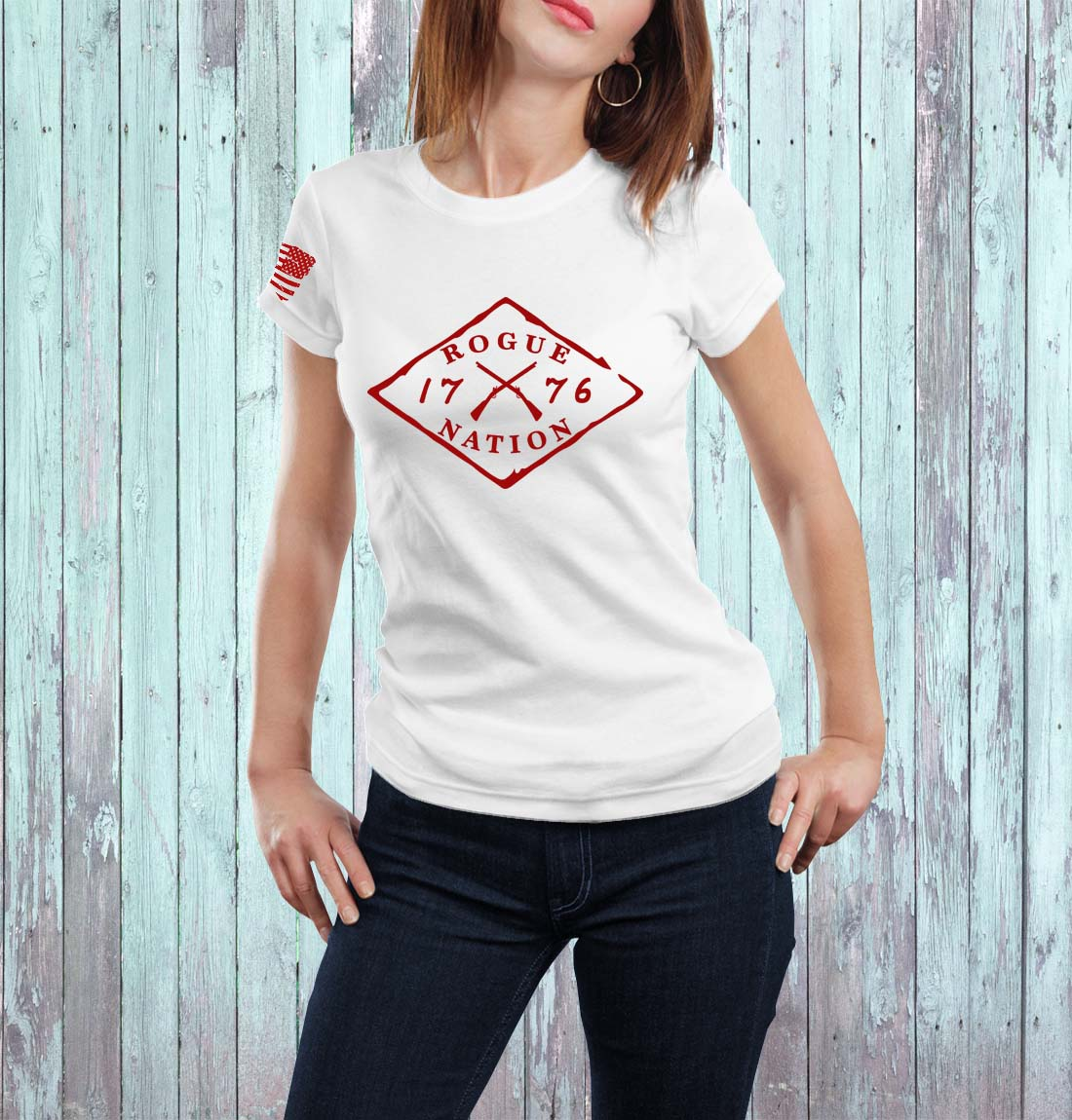 t-shirt full logo on red women's
