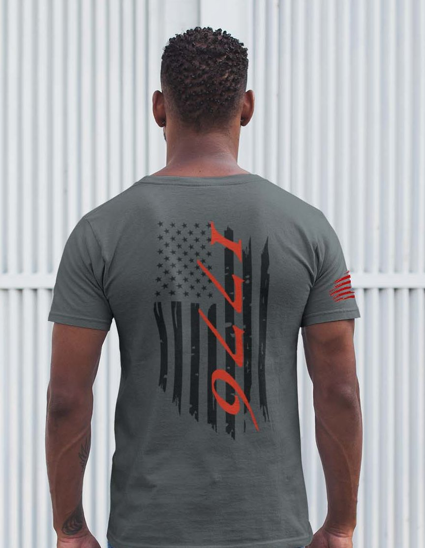 t-shirt flag 1776 charcoal men's