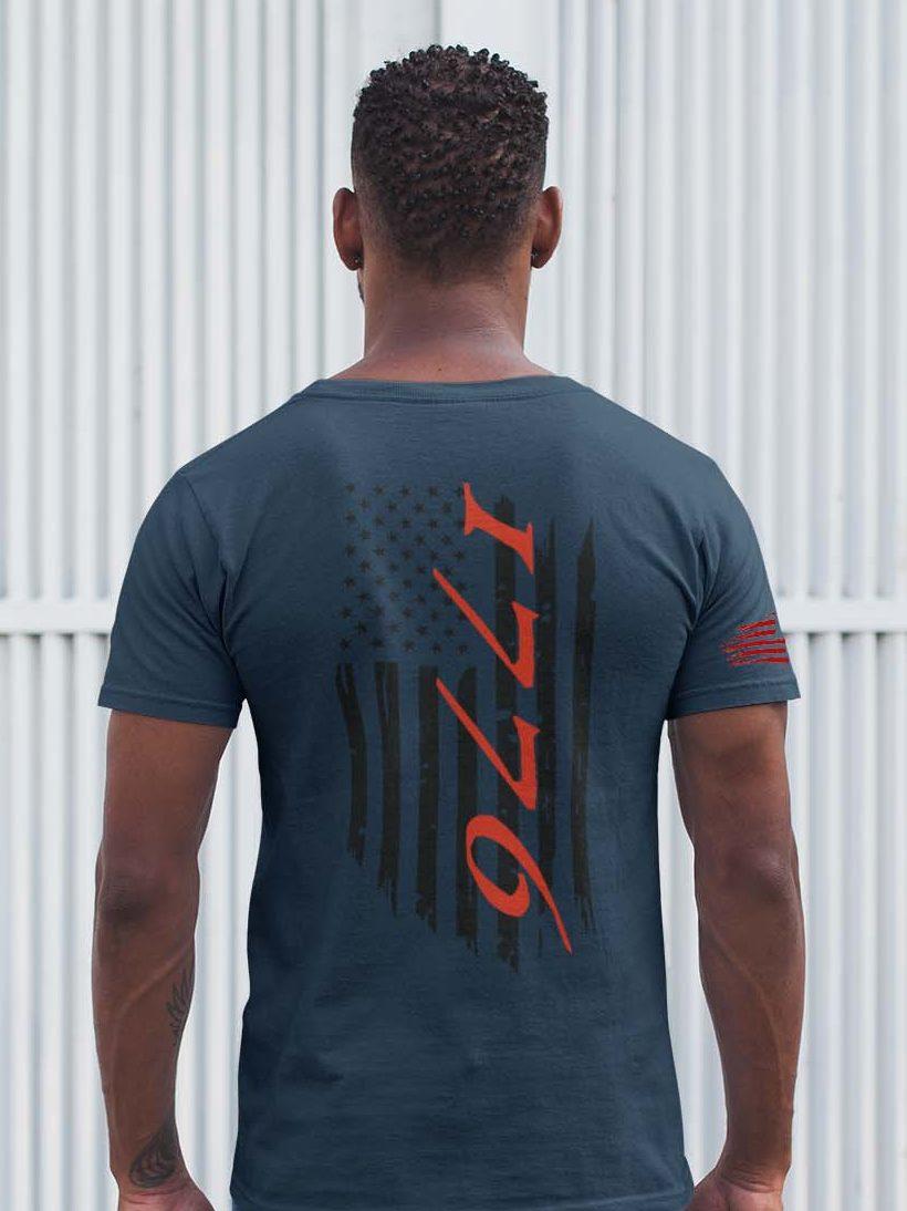 t-shirt flag 1776 on navy men's