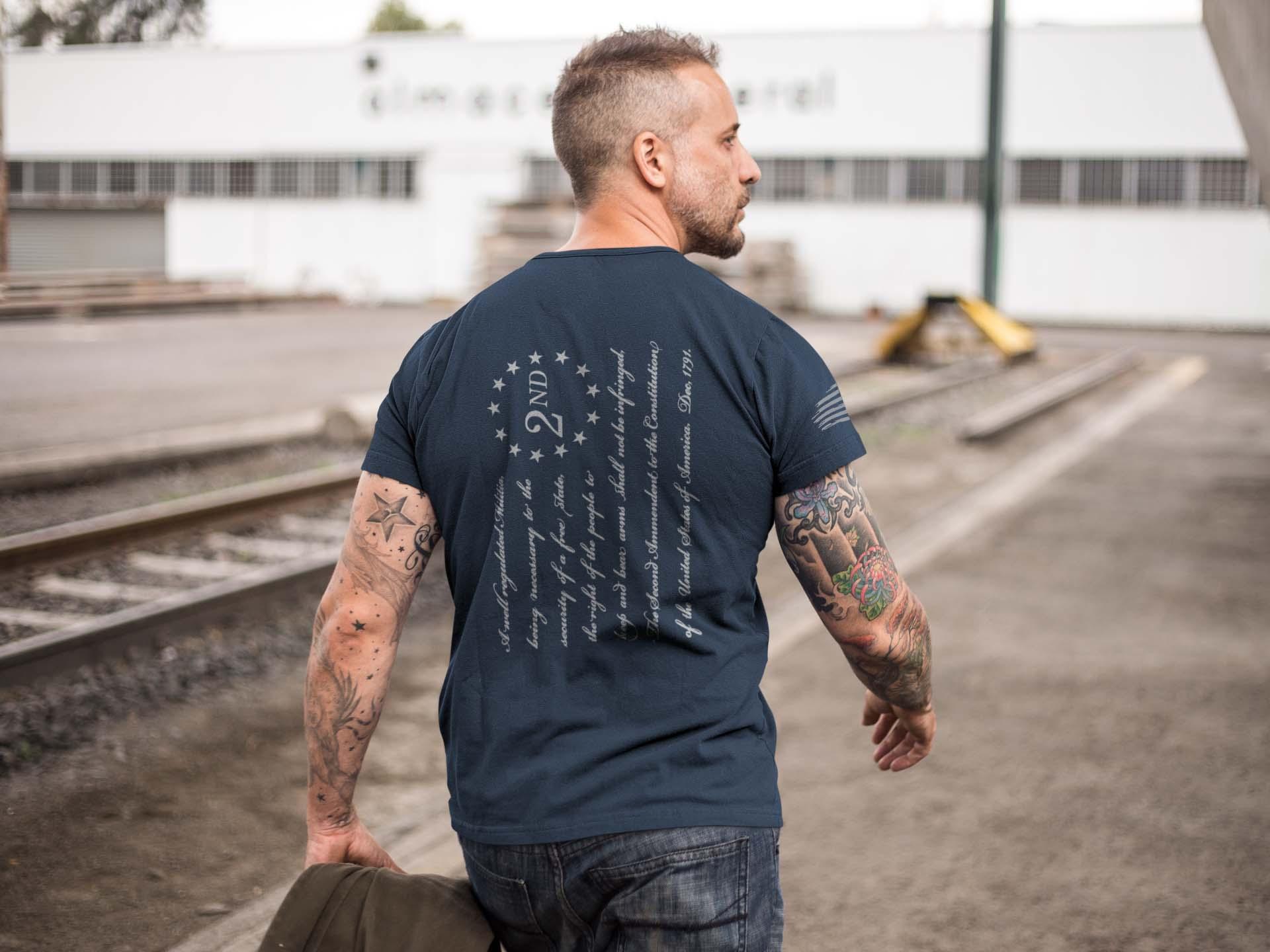 t-shirt-American 2nd Amendment on back-Mens-Navy
