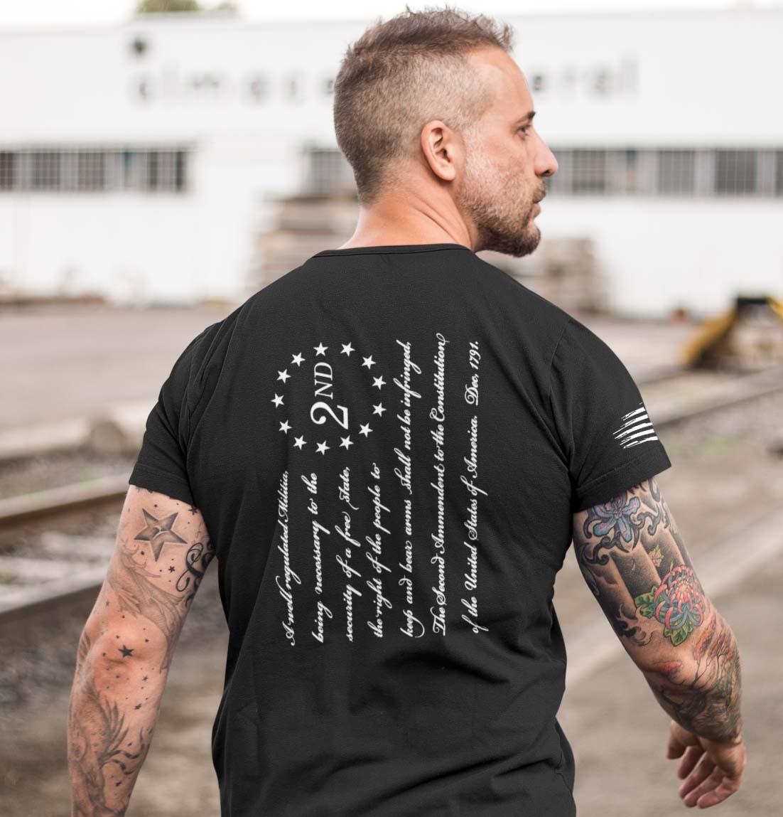 t-shirt - 2nd amendment on back - men's - black