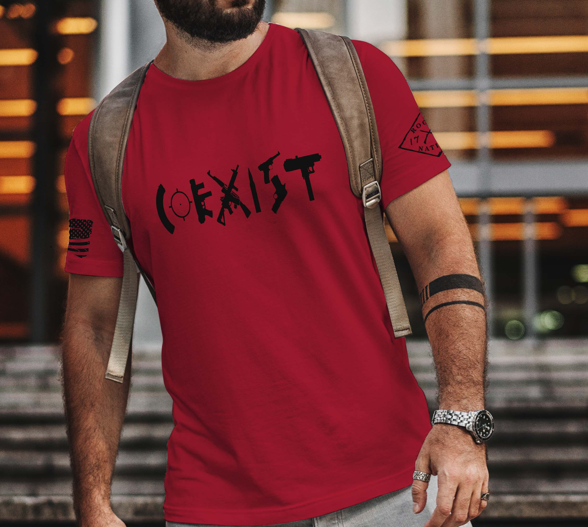 t-shirt coexist on red mens
