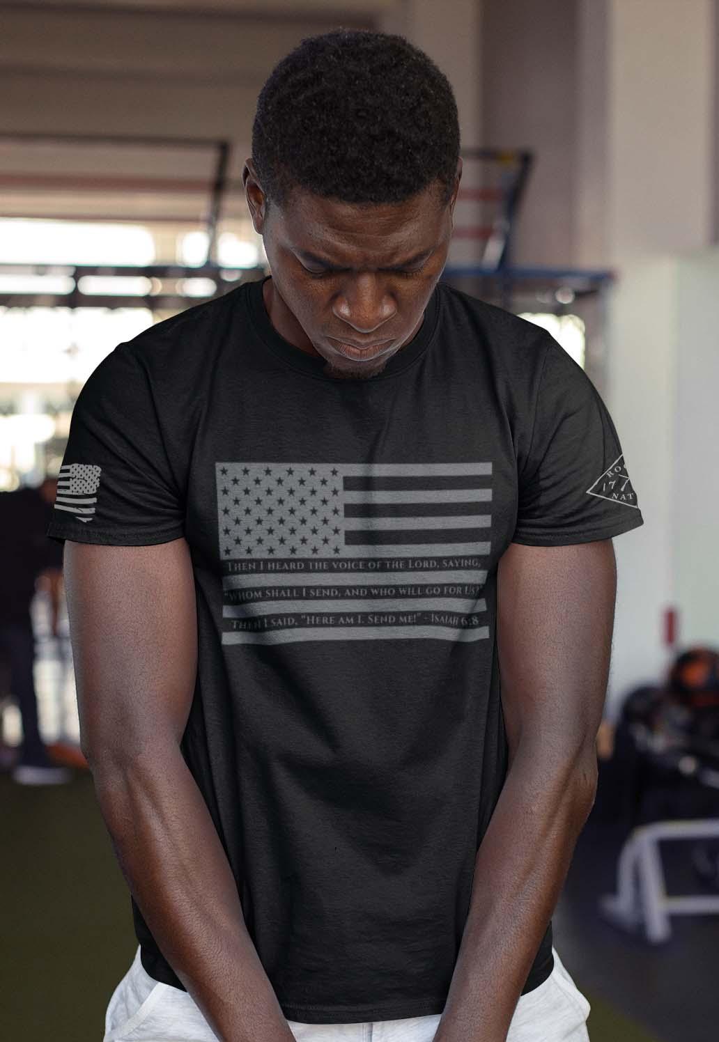 t-shirt isaiah 6:8 on black men's