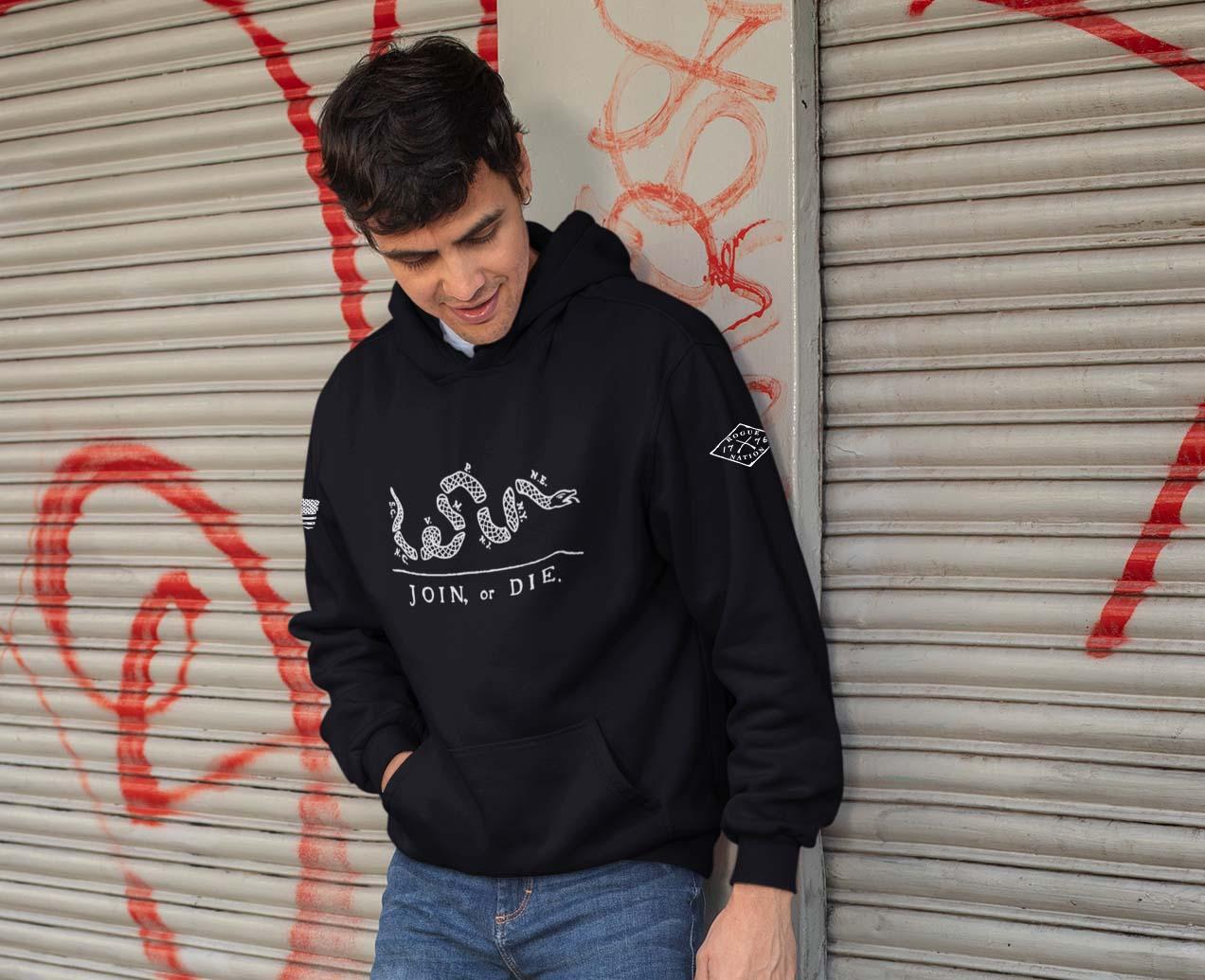 hoodie join or die black mens