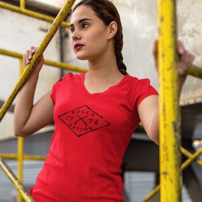 vneck front red womens