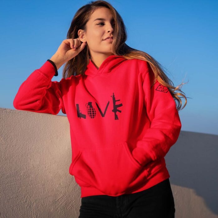 hoodie love red women's