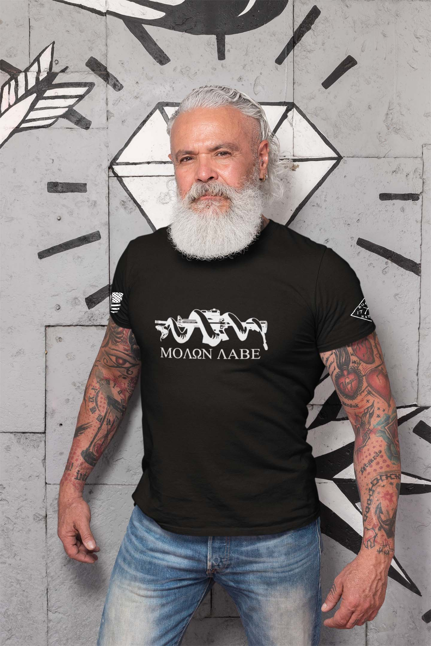 t-shirt with molon labe on black men's
