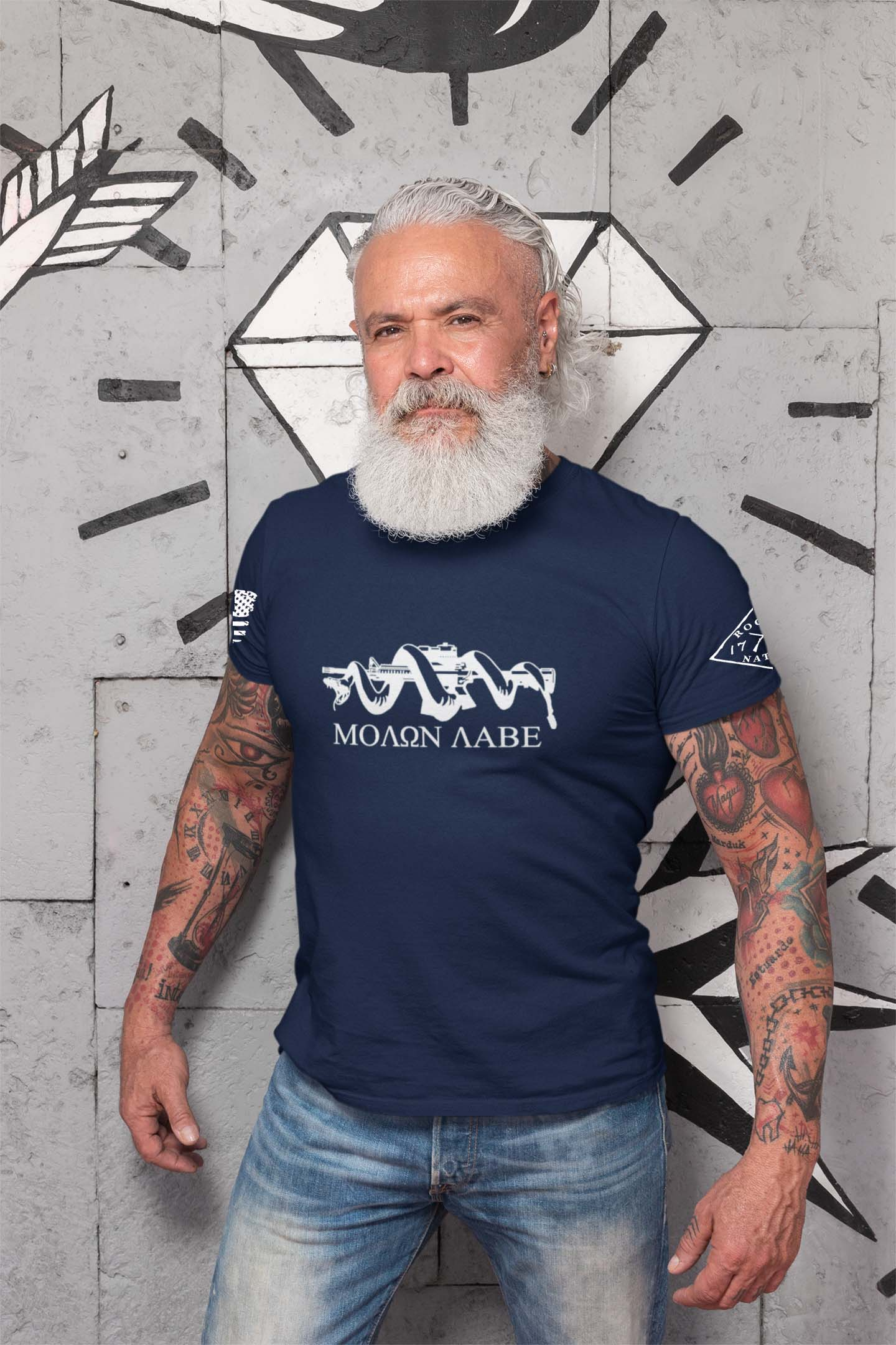t-shirt with molon labe on navy men's