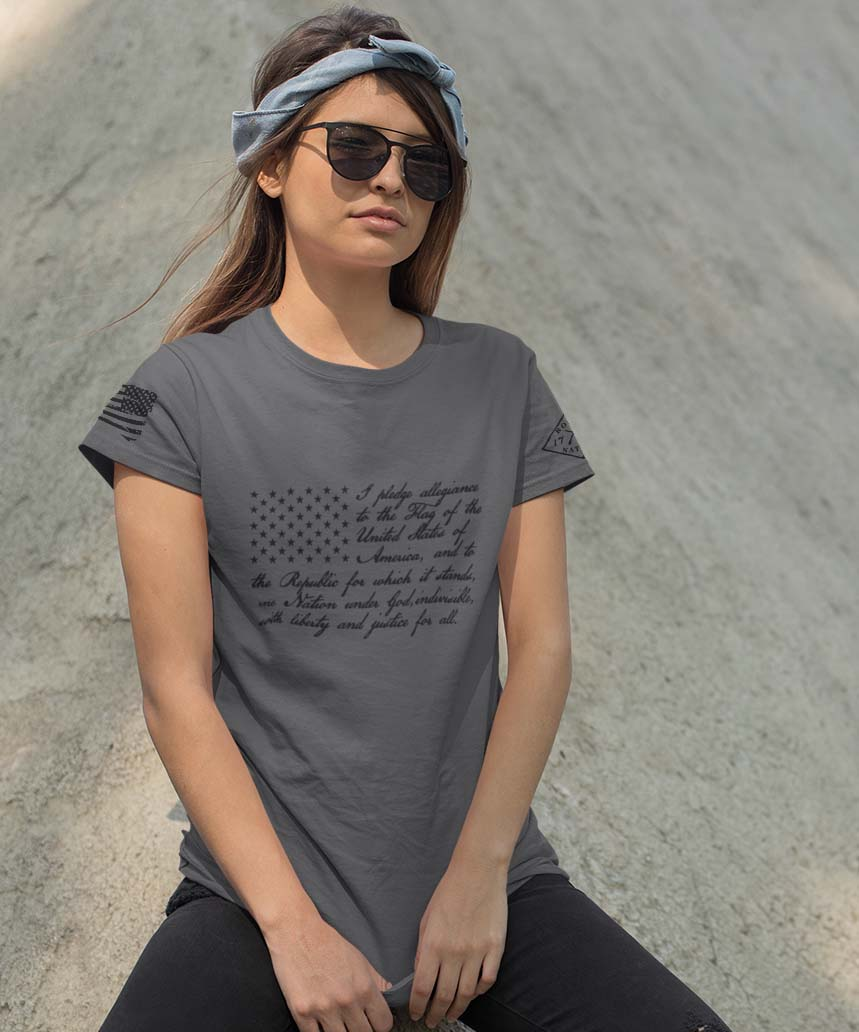 t-shirt pledge on charcoal women's