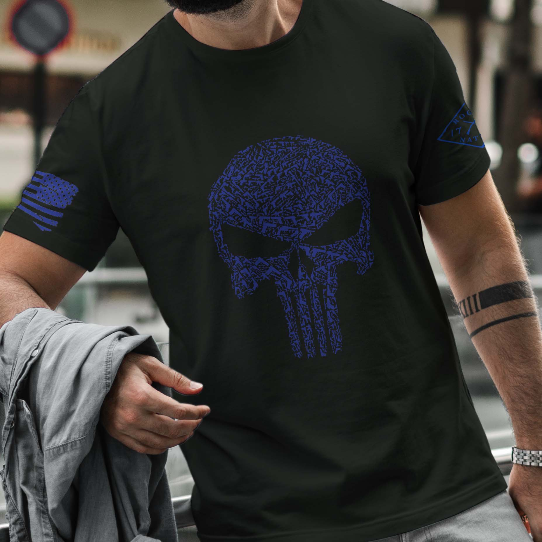 t-shirt with punisher guns on black mens