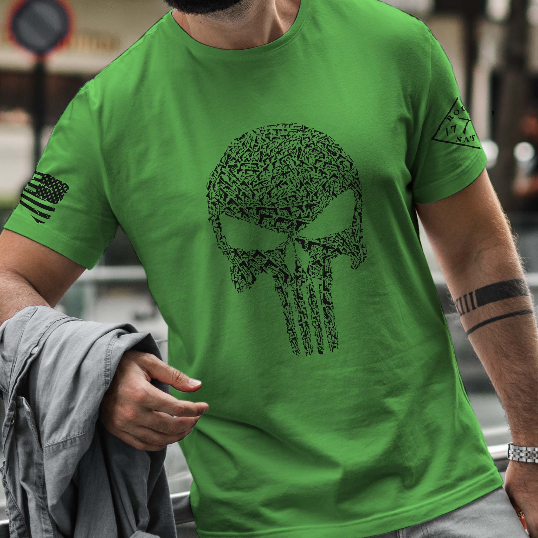 t-shirt with punisher guns on Green mens