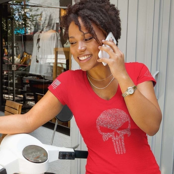 t-shirt vneck punisher guns red womens