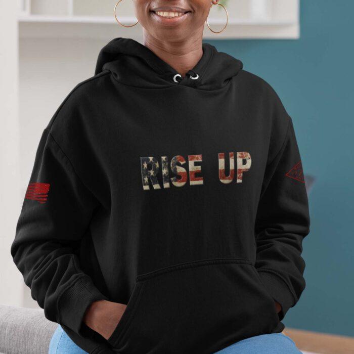 hoodie rise up black womens