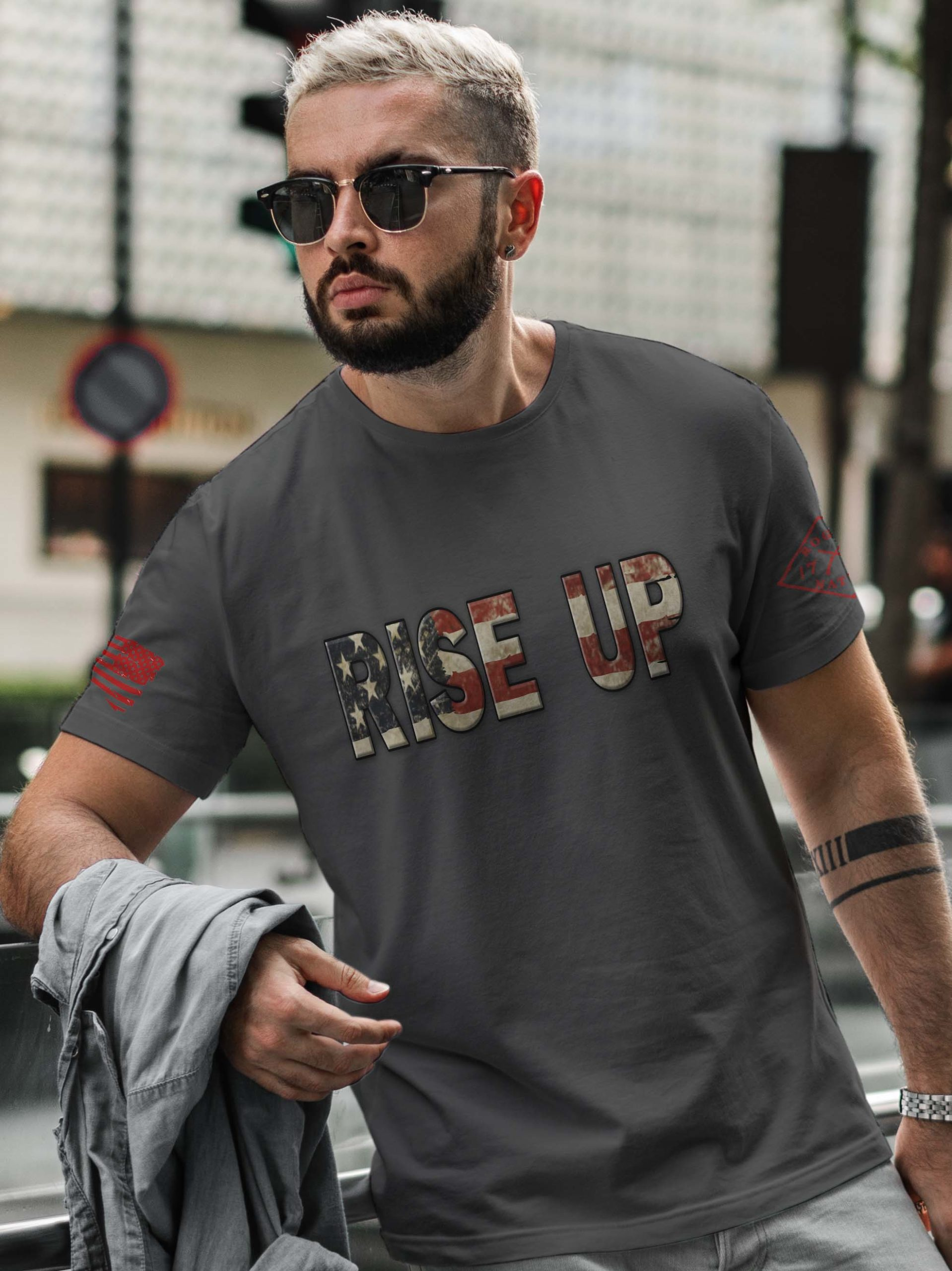 t-shirt with rise up on charcoal mens