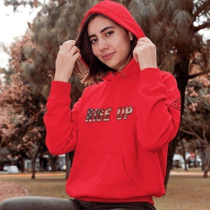 hoodie rise or die red womens