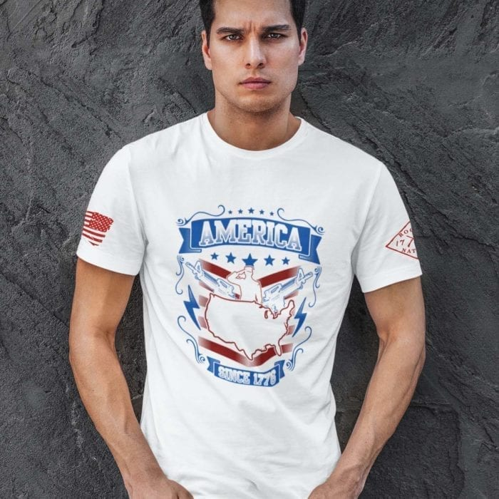 t-shirt with salute 1776 on white mens
