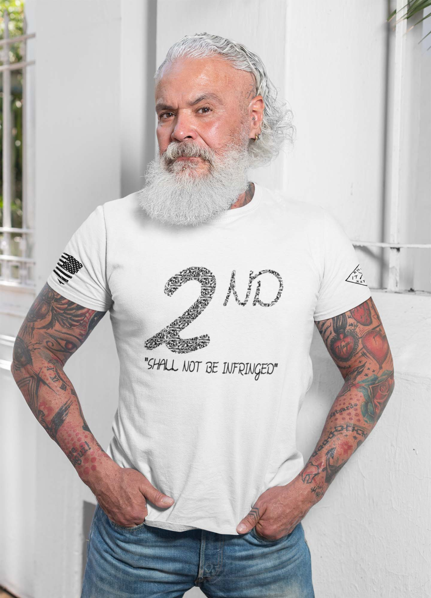 t-shirt shall not be infringed on white mens