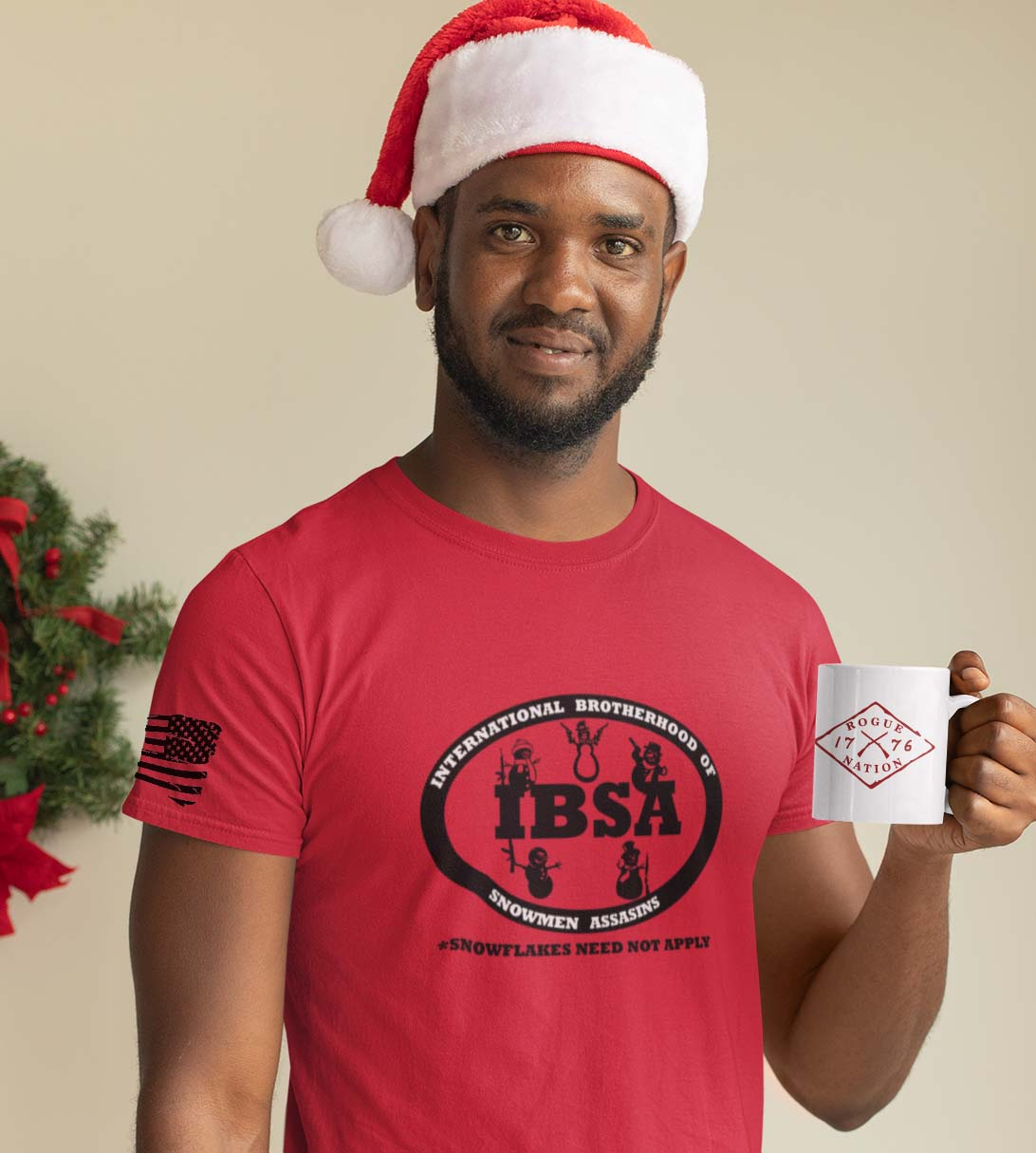 t-shirt snowman union on red mens