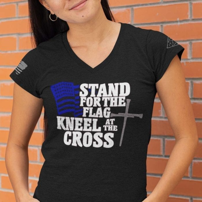 vneck stand for the flag black womens