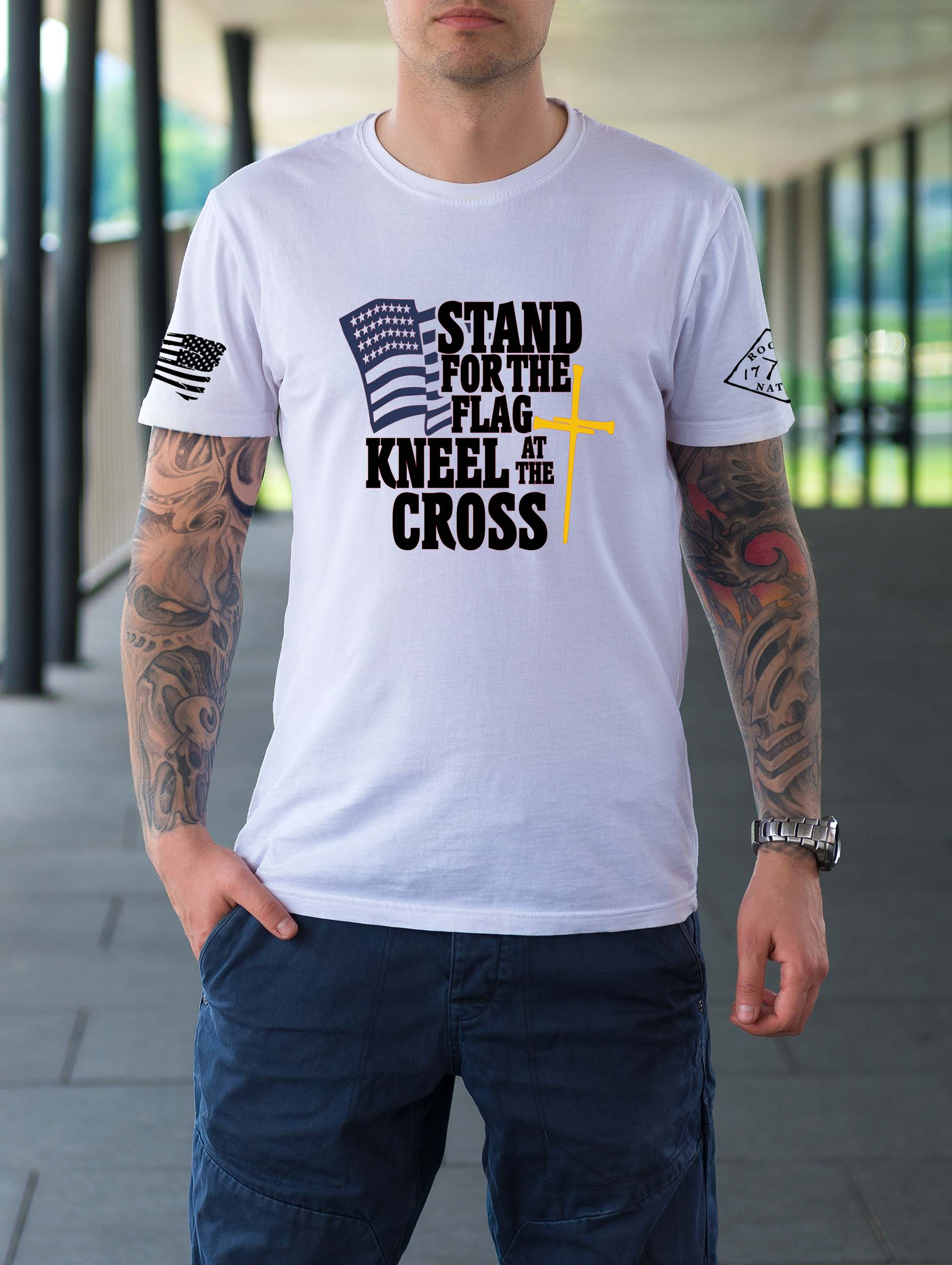 t-shirt with stand for the flag on white men's