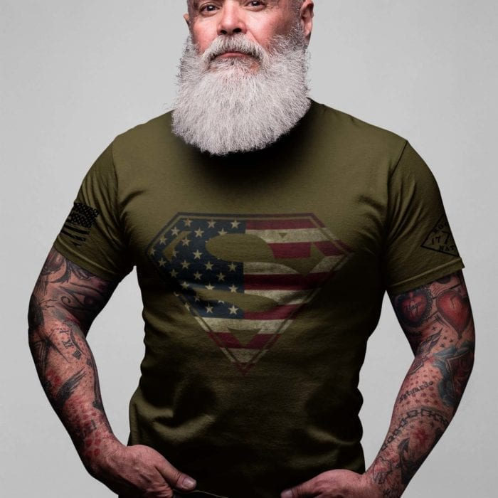 t-shirt with superman on army men's
