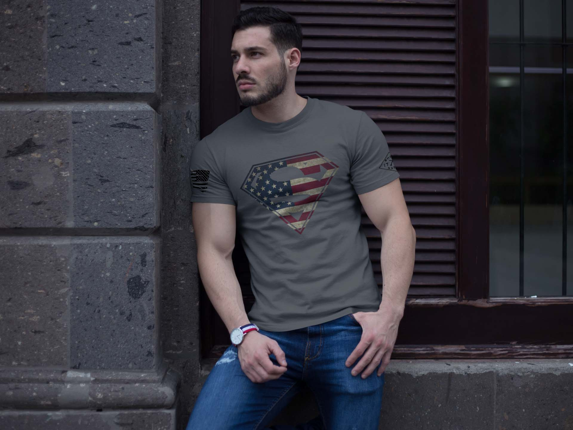 t-shirt with superman on charcoal men's