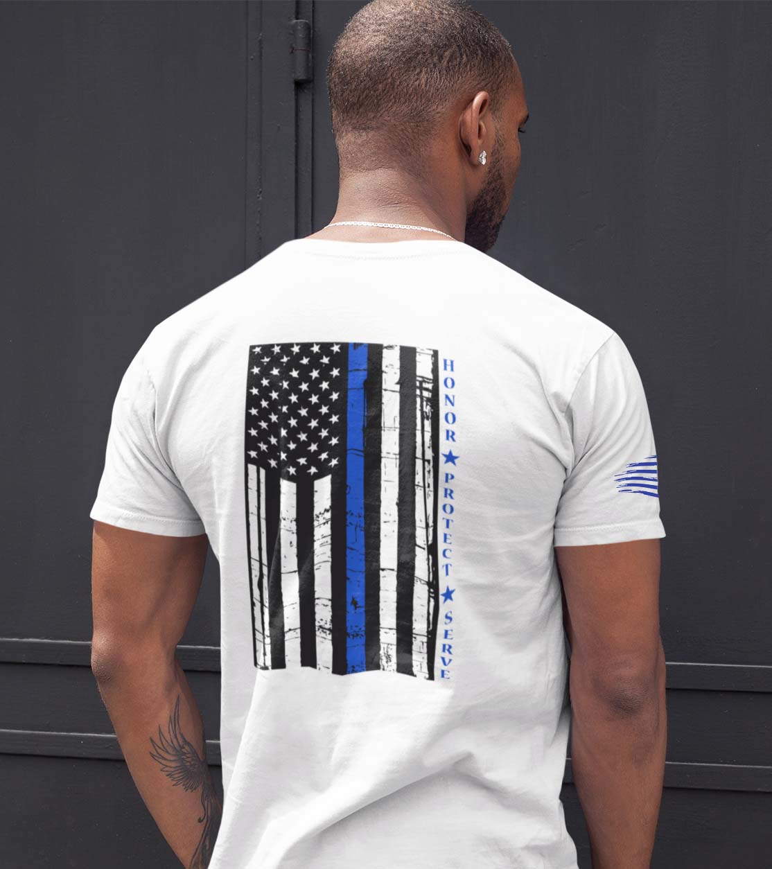t-shirt with thin blue line hps back on white mens