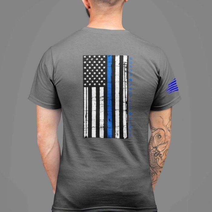 t-shirt with thin blue line hps back on charcoal mens