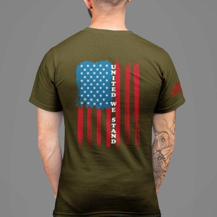 t-shirt with united we stand back on army men's