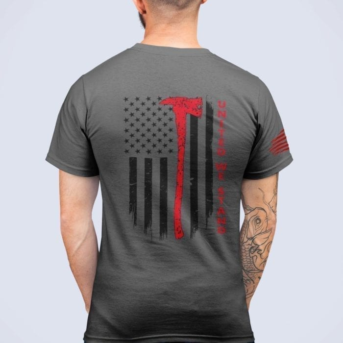 t-shirt with united we stand back for fire on charcoal mens