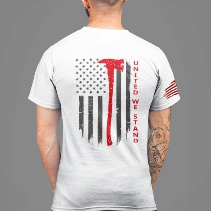 t-shirt with united we stand back for fire on white mens