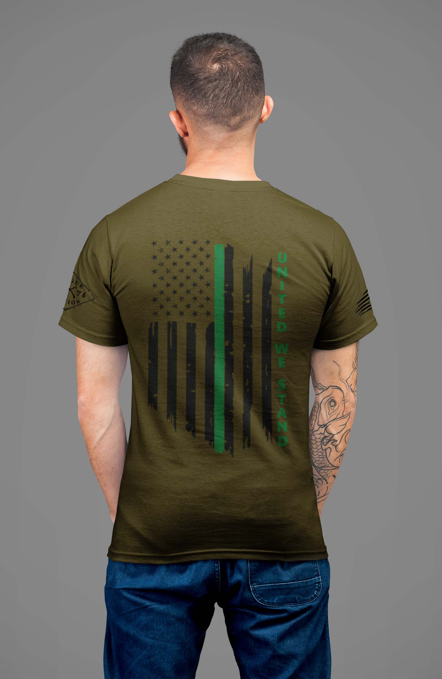 t-shirt with united we stand back for military on army mens