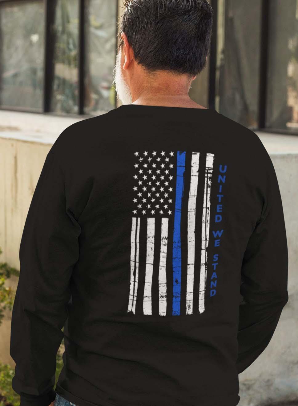t-shirt united we stand on black back long sleeves men's