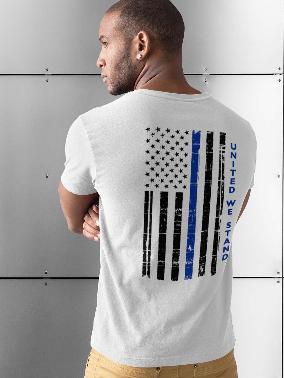 t-shirt with united we stand back for police on white mens