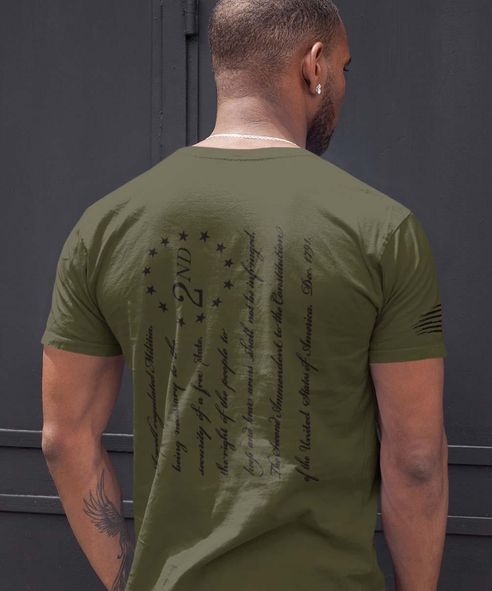 t-shirt - 2nd Amendment on back - men's - Army
